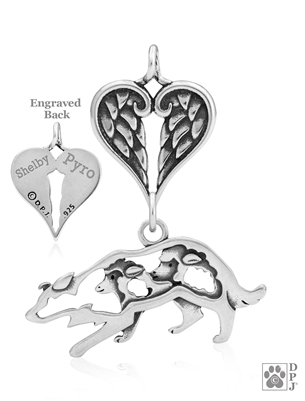 Personalized Sterling Silver Border Collie Angel Necklace, Body