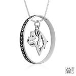 Sterling Silver Border Terrier Pendant, Head, w/Colossal Blinger -- new
