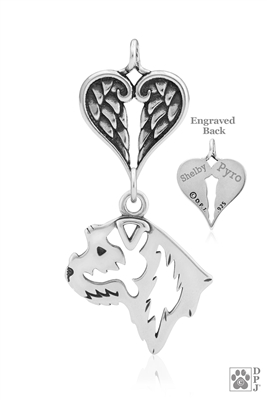 Personalized Sterling Silver Border Terrier Angel Necklace