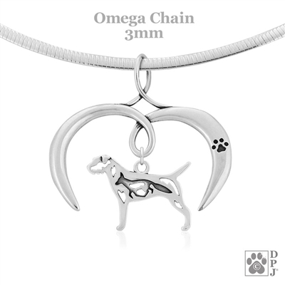 I Love My Border Terrier Necklace, Sterling Silver Border Terrier Necklace