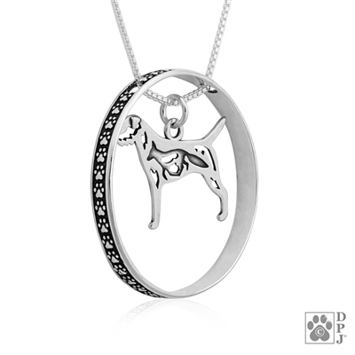 Sterling Silver Border Terrier Necklace w/Paw Print Enhancer, Body
