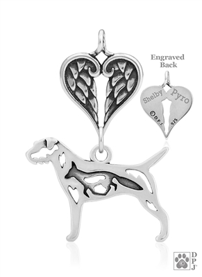 Personalized Sterling Silver Border Terrier Angel Necklace, Body