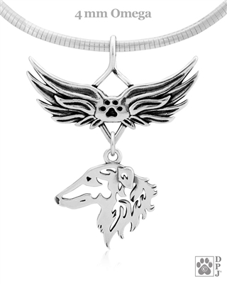 Sterling Silver Borzoi Pendant, Head, w/Tears In Heaven