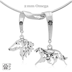 High End Borzoi Jewelry, Fine Sterling Silver charm-holder with paw print accents holds two handcrafted Borzoi pendants