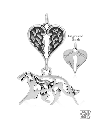 Personalized Borzoi Angel Wing Pendant Necklace, Sterling Silver Borzoi Memorial Sympathy Gifts, Russian Wolfhound Memorial Jewelry