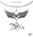 Borzoi Angel Wing Pendant Necklace, Sterling Silver Borzoi Memorial Sympathy Gifts, Russian Wolfhound Memorial Jewelry