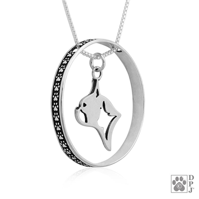 Sterling Silver Boston Terrier Pendant, Head, w/Colossal Blinger