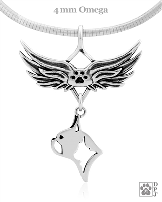 Sterling Silver Boston Terrier Angel Wing Necklace, Head