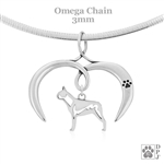 I Love My Boston Terrier Necklace, Sterling Silver Boston Terrier Necklace
