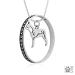 Sterling Silver Boston Terrier Necklace w/Paw Print Enhancer, Body