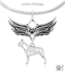 Sterling Silver Boston Terrier Angel Wing Necklace, Body