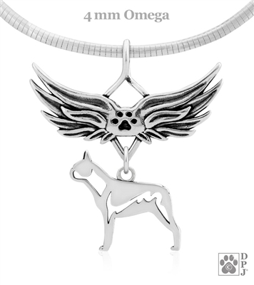 Sterling Silver Boston Terrier Pendant, Body, w/Tears In Heaven
