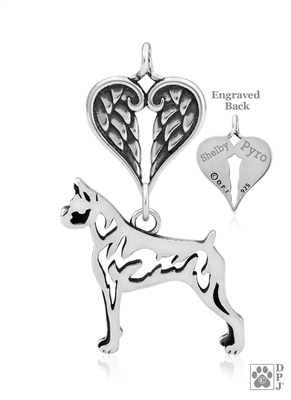 Sterling Silver Boxer Memorial Necklace -- new