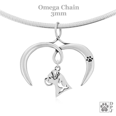 Sterling Silver I Love My Boxer Necklace, Heart Charm Holder with Boxer Pendant on an Omega Chain
