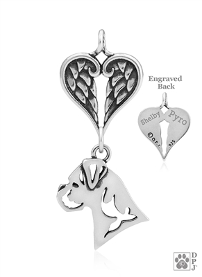 Personalized Boxer Angel Wing Necklace, Sterling Silver Boxer Memorial Pendant Jewelry, Boxer Sympathy Gifts