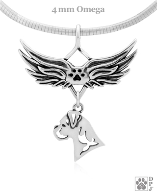 Sterling Silver Boxer Angel Wing Necklace, Head