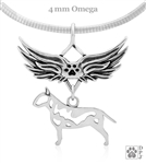 Sterling Silver Bull Terrier Pendant, Body, w/Tears In Heaven -- new