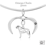I Love My Bullmastiff Necklace, Sterling Silver Bullmastiff necklace