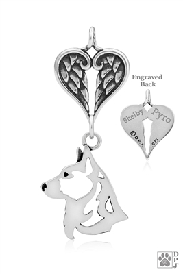 Personalized Sterling Silver Cardigan Welsh Corgi Angel Wing Necklace, Corgi Memorial Pendant Jewelry, Corgi Sympathy Gifts, Corgi Keepsake