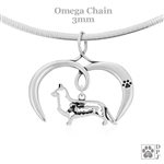 I Love My Cardigan Welsh Corgi Necklace, Sterling Silver Cardigan Welsh Corgi necklace
