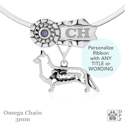 Personalized Best In Show Cardigan Welsh Corgi Jewelry, Best In Show Corgi Pendant Necklace, Sterling Silver Corgi Gifts, Grand Champion Corgi