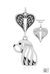 Sterling Silver Cavalier King Charles Spaniel Pendant, Head w/Healing Angels -- new