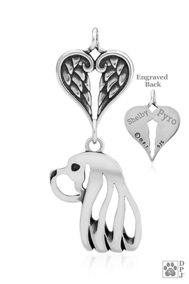 Exquisite Sterling Silver Cavalier King Charles Spaniel Angel Necklace