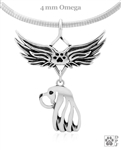 OUT OF STOCK Sterling Silver Cavalier King Charles Spaniel Angel Wing Necklace, Head