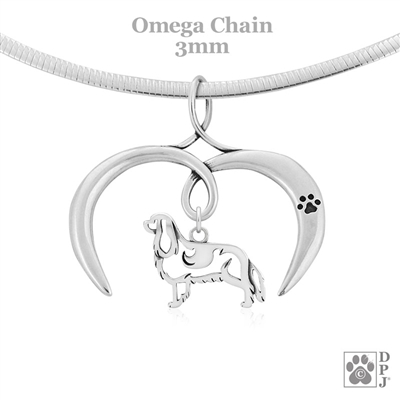 I Love My Cavalier King Charles Spaniel Necklace, Sterling Silver Cavalier King Charles Spaniel necklace