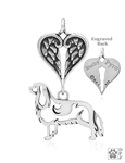 Sterling Silver Cavalier King Charles Spaniel Pendant, Body w/Healing Angels -- new