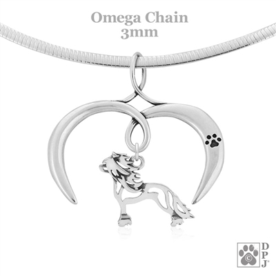I Love My Chinese Crested Necklace, Sterling Silver Chinese Crested necklace