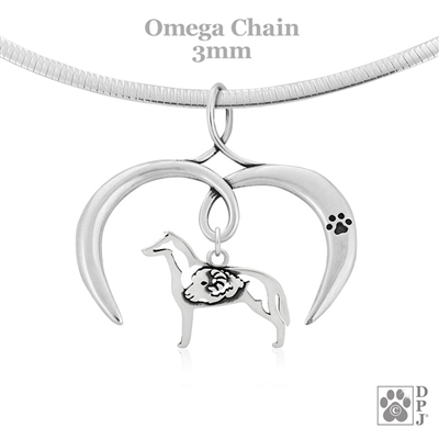 I Love My Collie Necklace, Sterling Silver Collie necklace