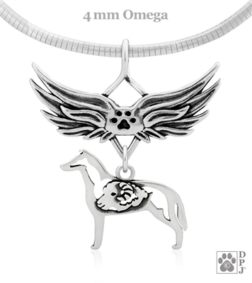 Sterling Silver Smooth Coat Collie Angel Wing Necklace, Collie Memorial Pendant Jewelry, Collie Sympathy Gifts, Collie Keepsake