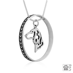 Sterling Silver Dachshund Pendant, Smooth Coat, Head, w/Colossal Blinger -- new