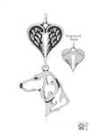 Sterling Silver Dachshund Pendant, Smooth Coat, Head w/Healing Angels -- new
