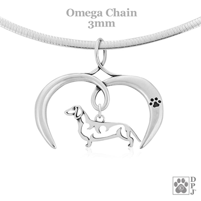I Love My Sterling Silver Smooth Coat Dachshund Pendant Necklace, Dachshund Jewelry Gifts, Doxie Lovers
