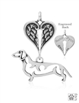 Sterling Silver Dachshund Pendant, Smooth Coat, Body w/Healing Angels -- new