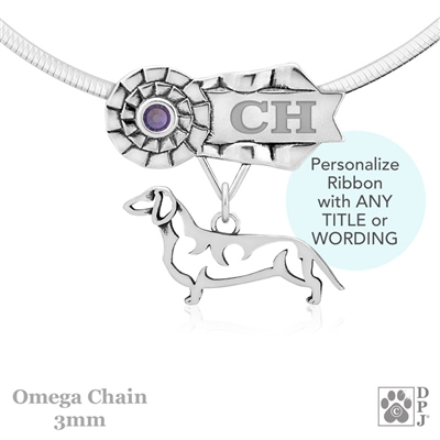 Personalized Best In Show Smooth Coat Dachshund Jewelry, Best In Show Dachshund Pendant Necklace, Grand Champion Dachshund