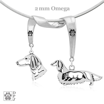 Fine Longhaired Dachshund Jewelry Gifts, Sterling Silver Dachshund Pendant Necklace, Grand Champion Dachshund, Best in Show Dachshund
