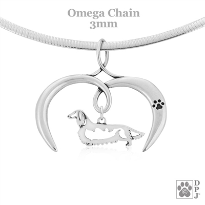 I Love My Dachshund Necklace, Sterling Silver Longhaired Dachshund necklace