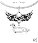 Sterling Silver Longhaired Dachshund Angel Wing Necklace, Dachshund Memorial Pendant Jewelry, Dachshund Sympathy Gifts