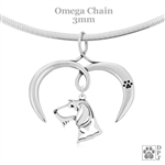 I Love My Dachshund Necklace, Sterling Silver Wirehaired Dachshund necklace