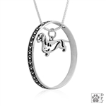 Sterling Silver Dachshund Pendant Wirehaired, Body, w/Colossal Blinger -- new