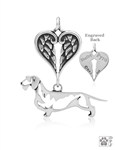 Sterling Silver Dachshund Wirehaired Pendant, Body w/Healing Angels -- new