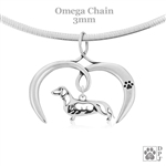 I Love My Dachshund Necklace, Sterling Silver Smooth Dachshund necklace