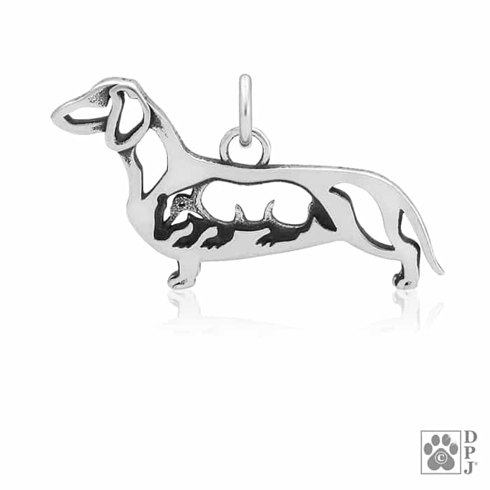 f398386d95dd6 Sterling Silver Smooth Coat Dachshund, Pendant, w/Badger in Body
