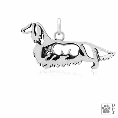 Sterling Silver Longhaired Dachshund Charm, Dachshund Pendant Necklace, Dachshund Jewelry, Doxie Gifts