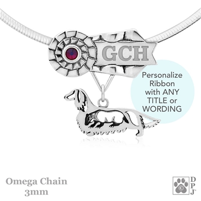 Personalized Best In Show Longhaired Dachshund Jewelry, Best In Show Dachshund Pendant Necklace, Grand Champion Dachshund