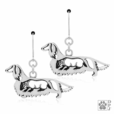Longhaired Dachshund Earrings, Doxy Jewelry, Dachshund Earrings, Dachshund Jewelry, Dachshund Gifts