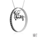 Sterling Silver Dachshund Pendant, Wirehaired, w/Badger in Body, w/Colossal Blinger -- new